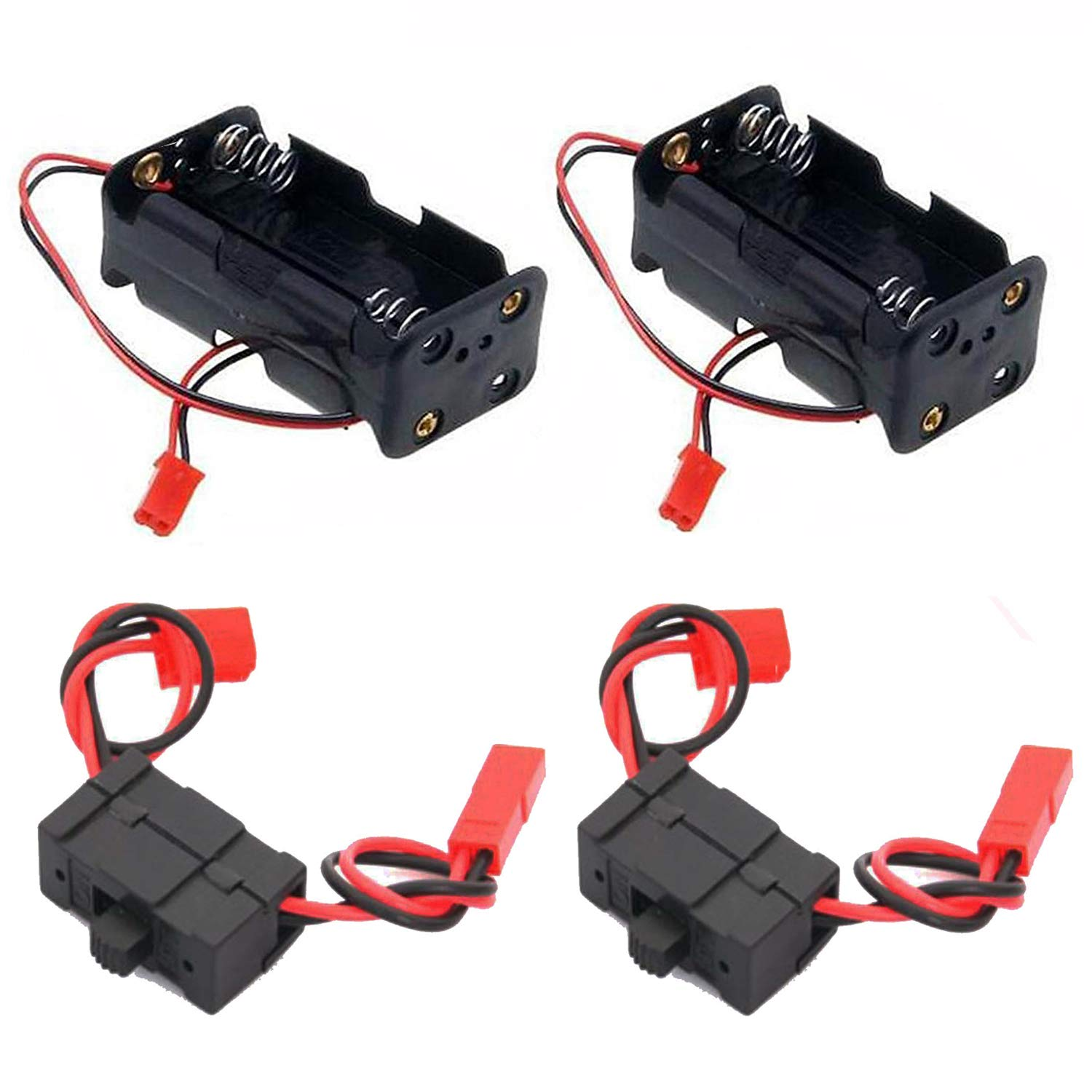2 Set ShareGoo On/Off Power Switch Battery Receiver & 4 Cell AA Battery Container Case Holder Pack Box with JST Plug for HSP Redcat 1/8 1/10 RC Nitro Power Car Crawler Truck