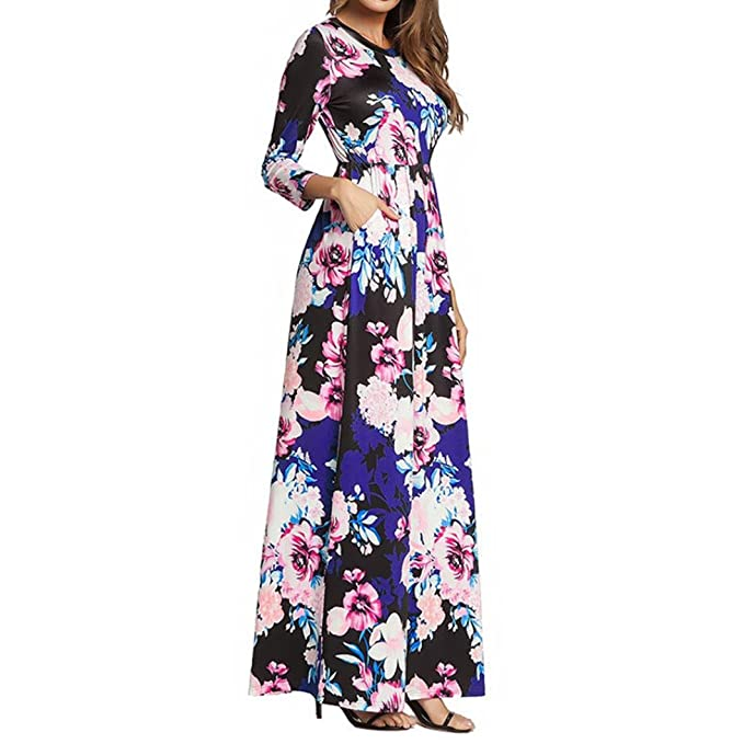 da28e1f0d07 Image Unavailable. Image not available for. Color  TOPUNDER Bohemian Floral  Long Maxi Dress for Women Swing Ruched Long Sleeve ...