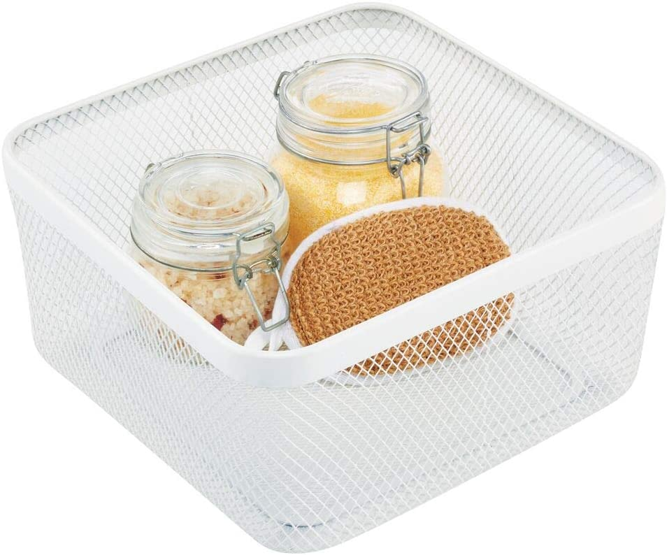 mDesign Flat Decorative Metal Bathroom Storage Organizer Bin Basket for Vanity, Towels, Cabinets, Shelves - Holds Sponges, Make-Up, Shampoo, Conditioner, Cosmetics, Hand Towels - White