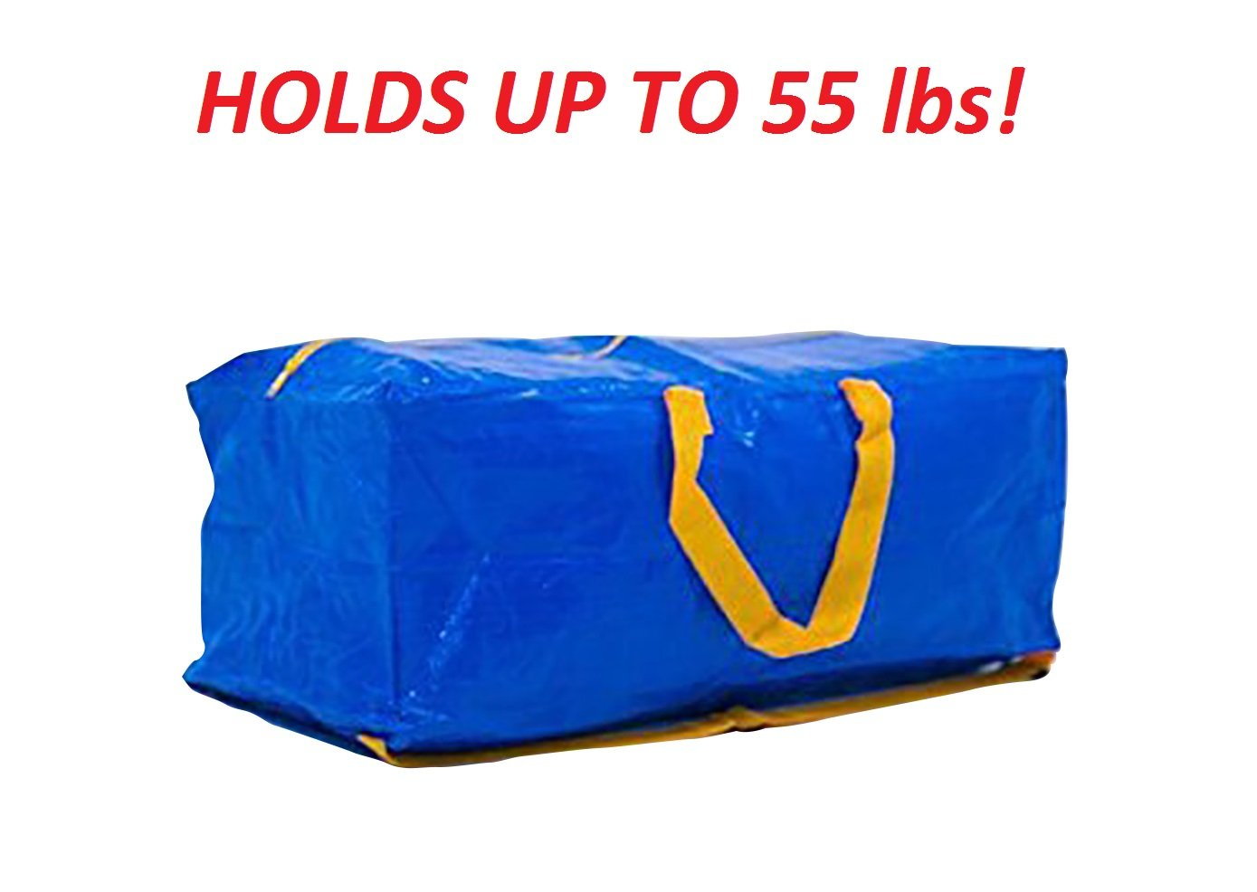 Klickpick Home Heavy Duty Reusable Extra Large Storage Bags -Pack of 4, Laundry Bag Shopping Moving Totes Bags Underbed Storage Bins Zipper -Backpack Handles,Compatible with IKEA FRAKTA CART- Blue by Klickpick Home (Image #3)
