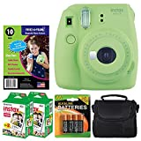 Fujifilm instax mini 9 Instant Film Camera (Lime Green) + Freez-A-Frame Magnetic Photo Pockets + Fujifilm Instax Film (40 Shots) + Small Compact Case + 4 AA Batteries – Top Value Accessory Bundle
