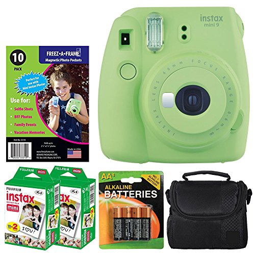Fujifilm instax mini 9 Instant Film Camera (Lime Green) + Freez-A-Frame Magnetic Photo Pockets + Fujifilm Instax Film (40 Shots) + Small Compact Case + 4 AA Batteries – Top Value Accessory Bundle by PHOTO4LESS