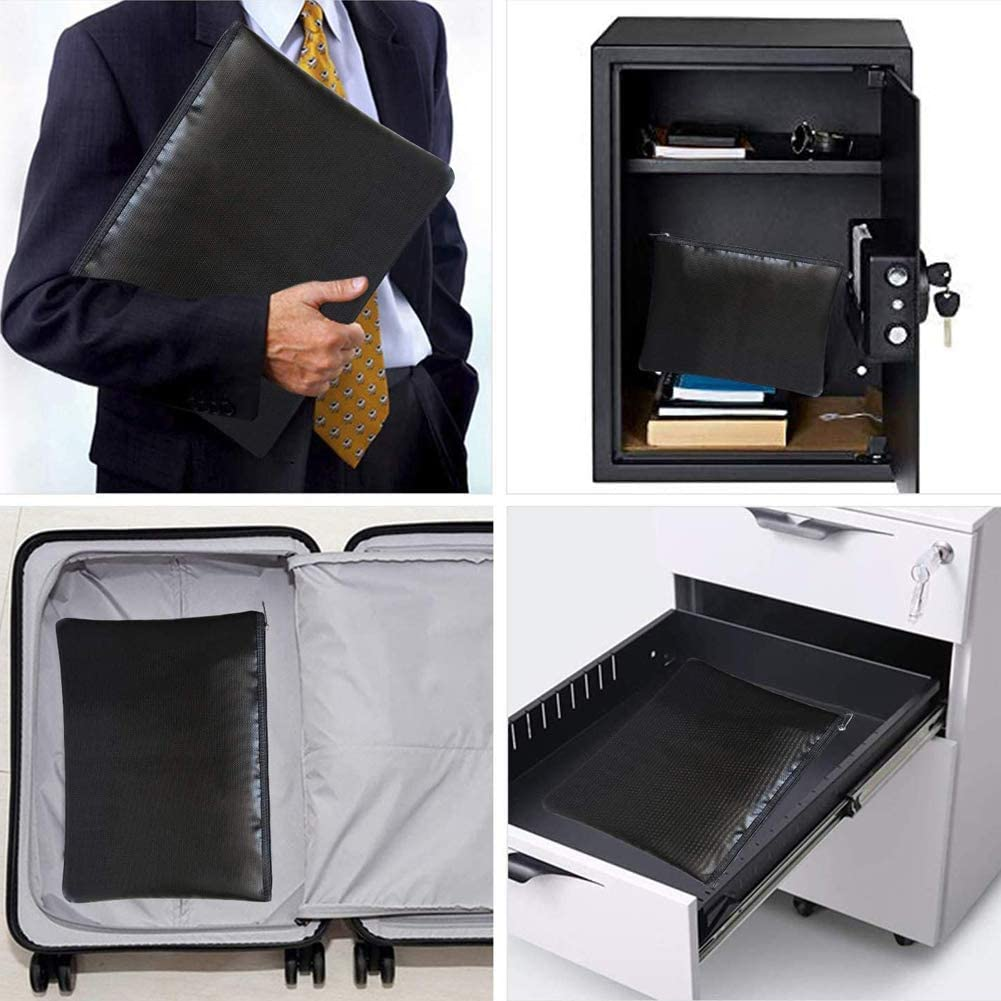 Fun Storage Fireproof Document Bags Large FC//Legal//Letter Size Waterproof and Fireproof Money Bag,Fire Proof Safe Storage Pouch with Zipper for Document Holder,File,Cash,Tablet,Passport,Jewelry,Valuables Box