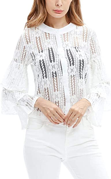 Camisa De Mujer Blusa Manga Larga Camisa De Encaje Otoñal Top ...