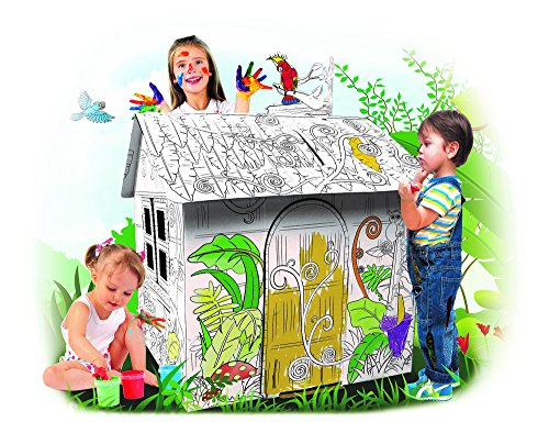 Spiritoy - My Little Jungle House, Large Corrugated Cardboard, Coloring Creative Crafts Play House Project for Kids - 2.8 Feet Tall, Easy Assembly, Fast Fold