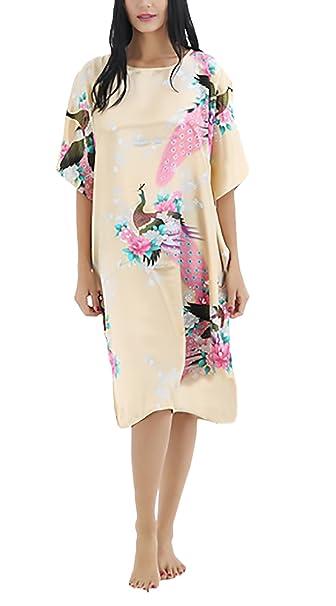Camison Mujer Verano Pijama Sleepwear Moda Suelto Vintage Floral Estampado Manga De Murciélago Cuello Redondo Largos