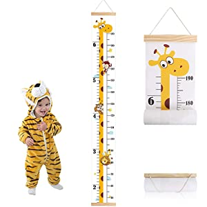 Baby Growth Height Chart, Outivity Hanging Ruler Wall Decals for Kids Boys Girls, Canvas and Wood Removable Measure Wall Ruler for Children