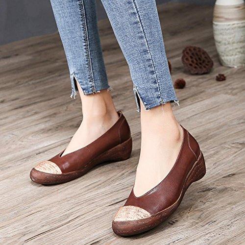 Bureau Chaussures 37 Style amp; Conduite Femmes Chaussures Chaussures de Taille Party en Marche Couleur Slip Printemps B Mocassins Cuir Soirée de National Respirant B Ons et XUE d'automne UZAqx