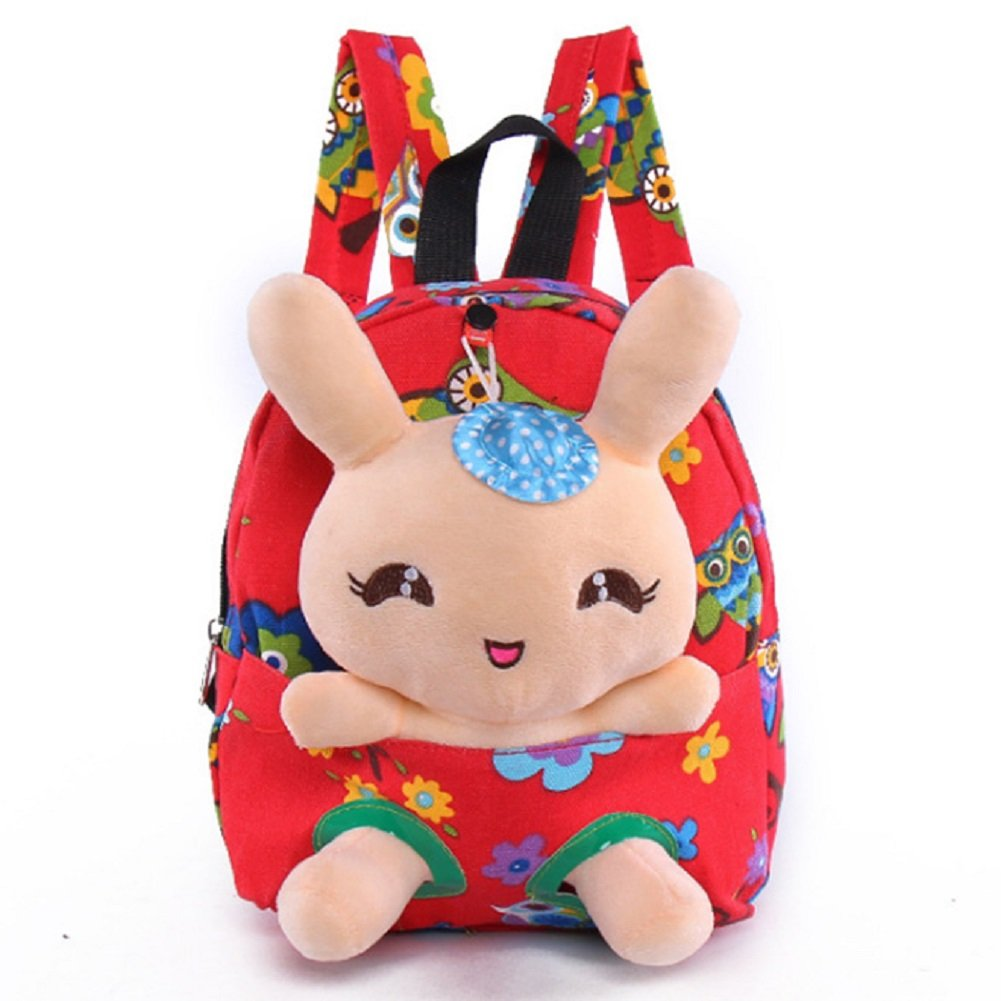 Little-Sweet Rabbit Backpack Cute Kids Toddler Backpack Plush Toy Backpack Snack Travel Bag Pre-School Bags for Girls 1-5Years Pink BAG005
