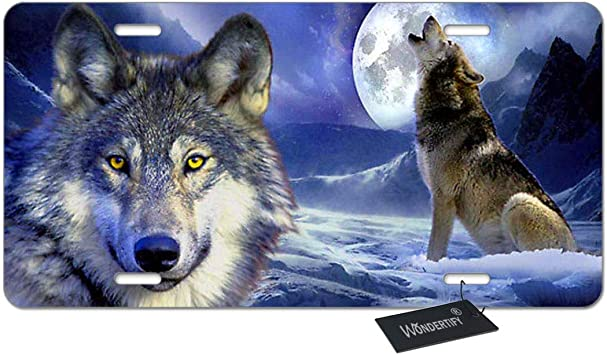 WONDERTIFY License Plate Wolf Howl on The Snow Mountain and Full-Moon Night Decorative Car Front License Plate,Vanity Tag,Metal Car Plate,Aluminum Novelty License Plate,6 X 12 Inch 4 Holes