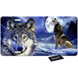 Beabes Night Wolf and Full Moon Front License Plate Cover,Dangerous Wild Animal Howling at The Night Sky Decorative License Plates for Car,Novelty Auto Car Tag Vanity Plates for Men Women 6x12 Inch