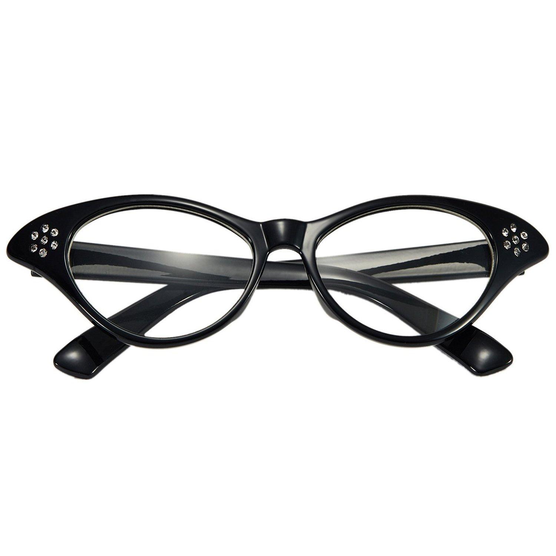 Bandana Tie Headband,Chiffon Scarf Cat Eye Glasses,Bobby Socks Poodle Skirt 50s Womens Costume Accessory Set