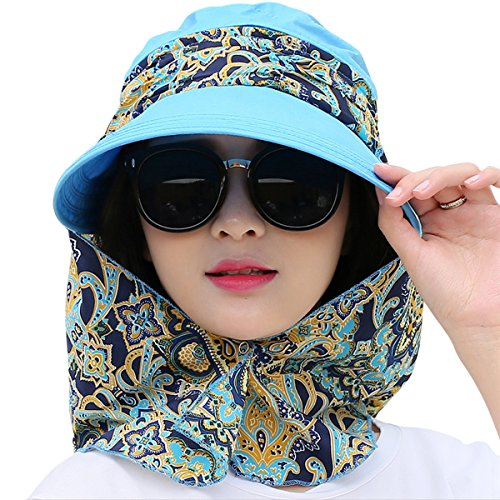 Lanzom Women Lady Wide Brim Cap Visor Hats UV Protection Summer Sun Hats (Sky Blue)