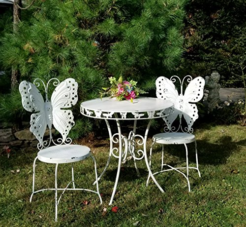 Outdoor/Indoor Butterfly Bistro set, set of 3 (2 chairs, 1 table) (Antique (Butterfly Patio Set)