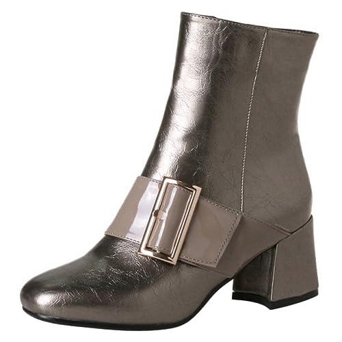 COOLCEPT Mujer a La Moda de Tacon Ancho Medio Botas Cortas Cremallera con  Hebilla  Amazon.es  Zapatos y complementos 5d92660729561