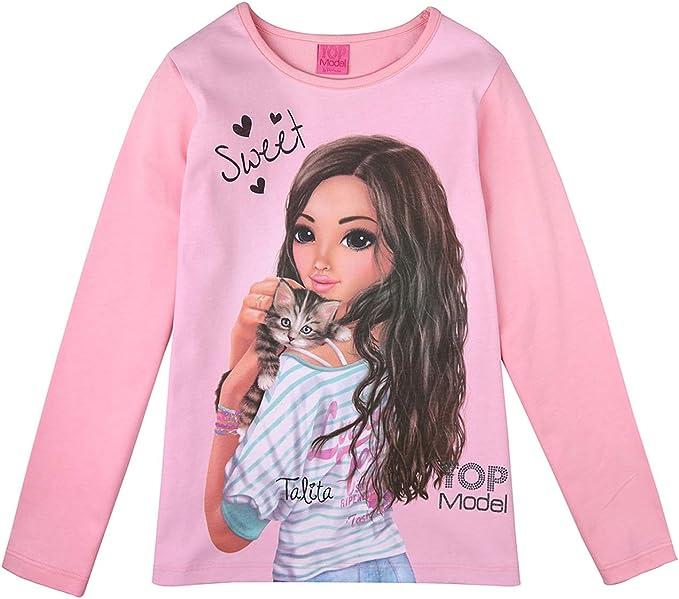 Langarmshirt rosa Top Model M/ädchen T-Shirt