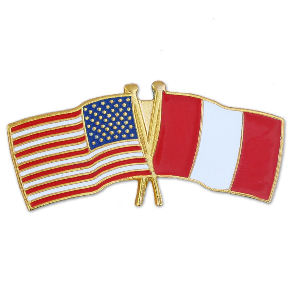 PinMart's USA and Peru Crossed Friendship Flag Enamel Lapel Pin by PinMart