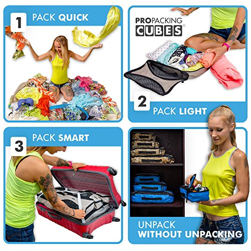 Pro Packing Cubes - 6 Piece Lightweight Travel Cube Set - Organizers and Compression Pouches System for Carry-on Luggage, Suitcase and Backpacking Accessories (Sky Blue) by Pro Packing Cubes (Image #6)