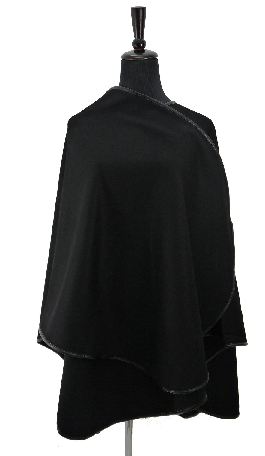 Real Cashmere Wrap Cape with Leather Trim-black