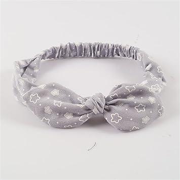 69a9882eb4e Amazon.com   Print Star Women Rabbit Ear Headband Fabric Knotted Bow  Stretch Hairband Headwear Hair Accessories Silver   Beauty