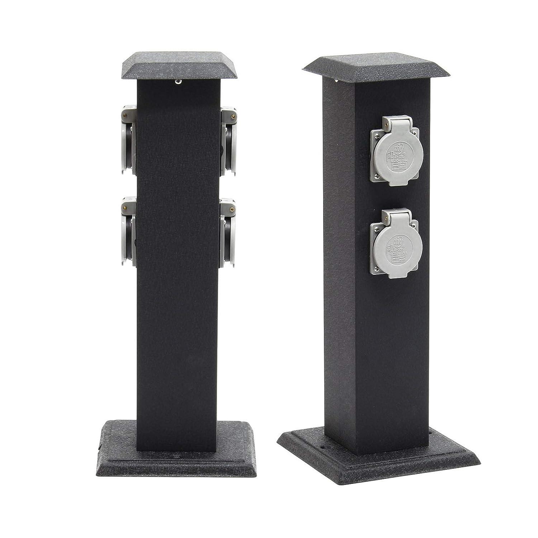 Columna enchufes jard/ín 4 tomas corriente Pilar met/álico IP44 Accesorios jard/ín Enchufe exterior