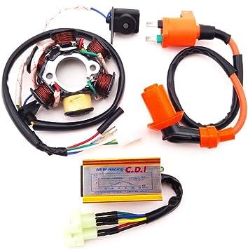 Bobina de Encendido Racing CDI Spark Plug Magneto Stator para Scooter de Ciclomotor GY6 125cc 150cc Estator Magneto