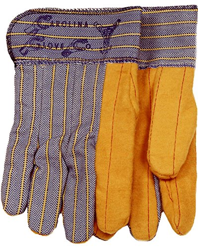 Large Safety Cuff Blue//Tan Carolina Glove /& Safety S118BSC Double Quilted Palm Gloves