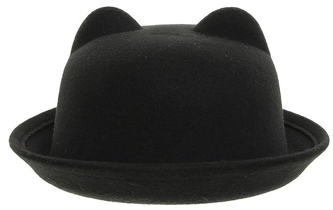 EOZY Women Wool Felt Cat Ear Roll-up Hat Fedora Bowler Head Circumference  22.5 quot  652cdf55d1fb