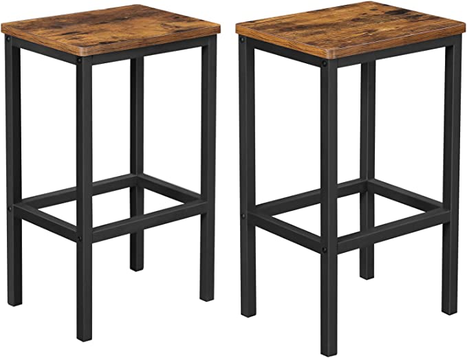 Vasagle Alinru Bar Stools Set Of 2 Bar Chairs Kitchen Breakfast Bar Stools With Footrest Industrial In Living Room Party Room Rustic Brown Lbc65x Amazon Co Uk Kitchen Home