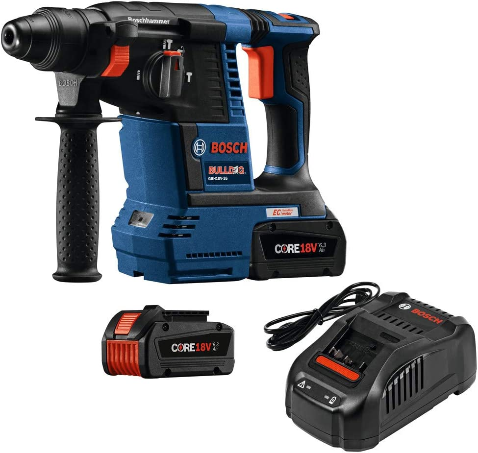 Bosch GBH18V-26K24-RT 6.3 Ah Cordless Lithium-Ion Brushless 1 in. SDS-Plus Bulldog Rotary Hammer Kit Renewed