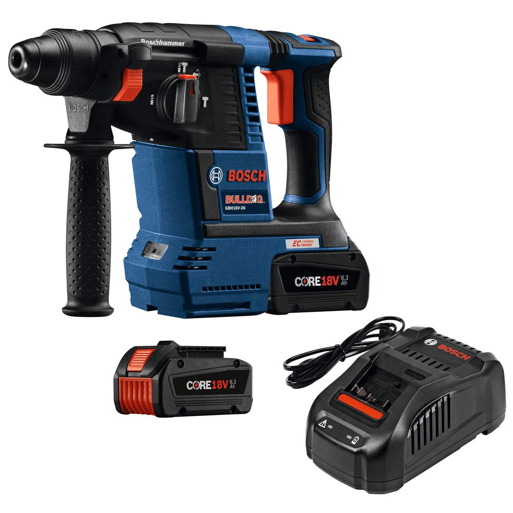 Bosch GBH18V-26K24-RT 6.3 Ah Cordless Lithium-Ion Brushless 1 in. SDS-Plus Bulldog Rotary Hammer Kit (Renewed) by Bosch (Image #8)