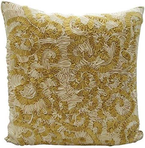 The HomeCentric Decorative Gold Euro Size Pillow Shams 26×26 inch 65×65 cm , Silk European Pillow Shams, Abstract, Ribbon Embroidery, Modern Euro Size Pillow Covers – Magnificent Awe
