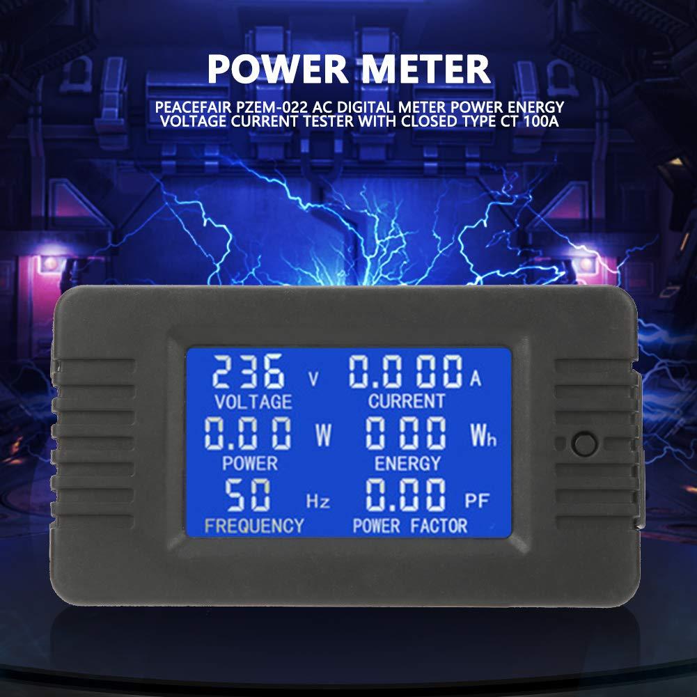 Walfront PeACEFAIR PZEM-022 AC 80-260V 100A LCD Display Multimetro Digitale Potenza Energia Tensione Corrente Frequenza Test Con Chiuso Tipo CT