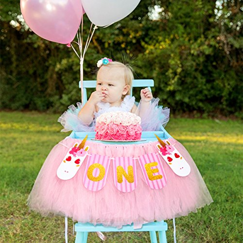 1st Birthday Girls Baby High Chair Tutu Skirt Decorations with Unicorn ONE Banner for Baby First Birthday Party Decoration Ideas Supplies -
