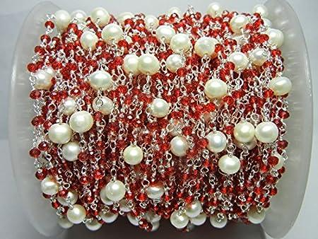 Cadena de cuentas de granate, cadena de cuentas de granate, cadena de rosario, cadena de cuentas de piedras preciosas, cadena de cuentas chapada en plata granate con grandes perlas, granate
