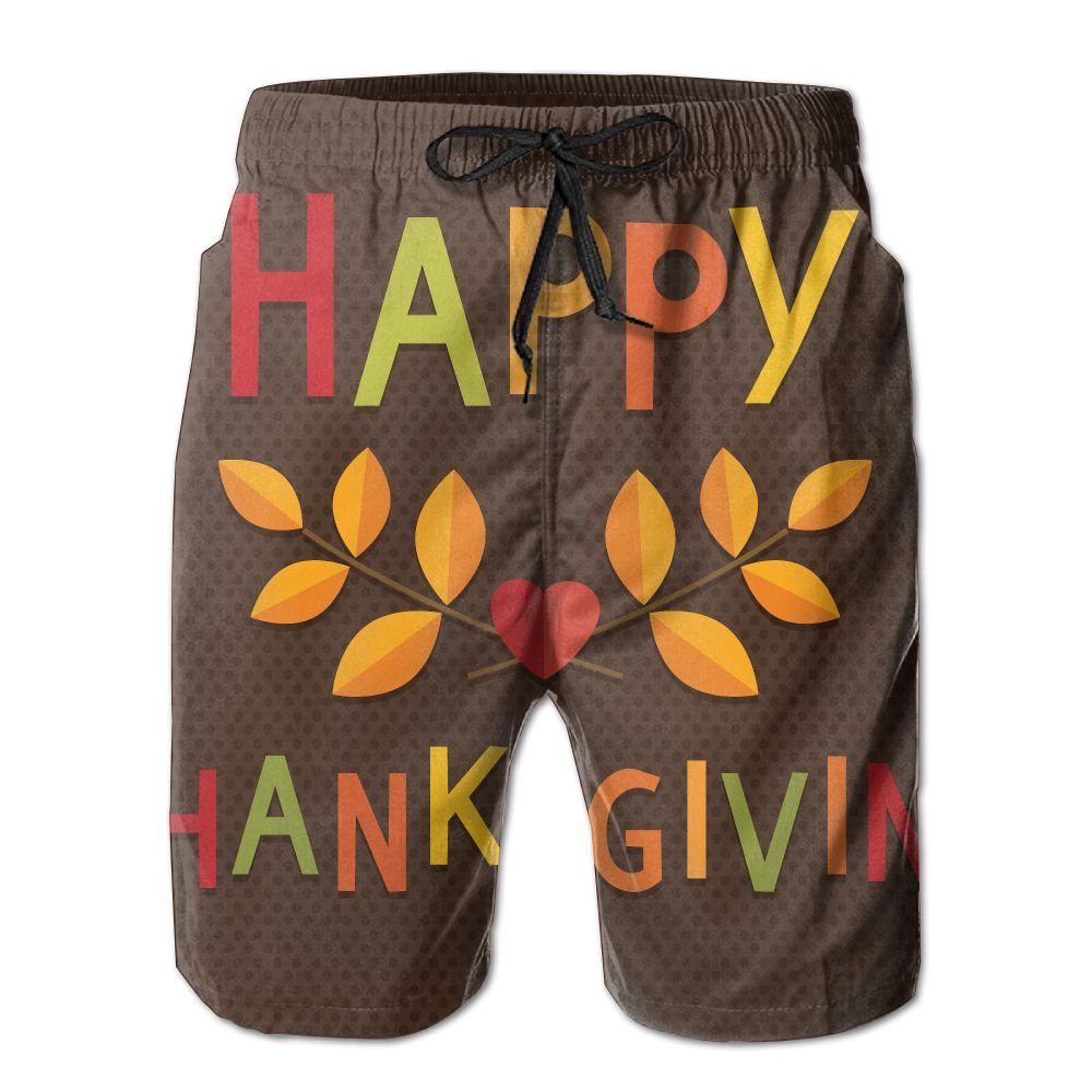 Happy Thanksgiving Mens Beach Shorts Elastic Waist Pockets Lightweight Swimming Board Short Quick Dry Short Trunks