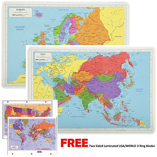 Painless Learning Educational Placemats For Kids Laminated Europe and Asia Map Set Free Two Sided UNITED STATES/WORLD Maps 3-Ring Binder - Set Europa