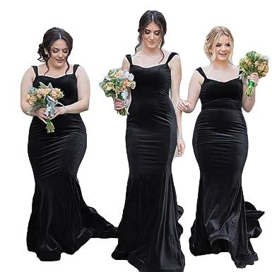 4b06cdb2a3 VikDressy Women's Mermaid Straps Velvet Bridesmaid Dresses Formal ...