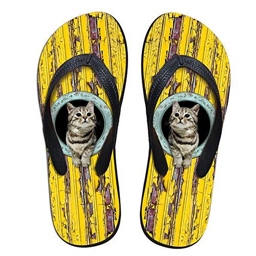 Para U Diseños Elegante Para Mujer Ligero Hombres Galaxy V Chancletas Personalizadas Yellow Cat