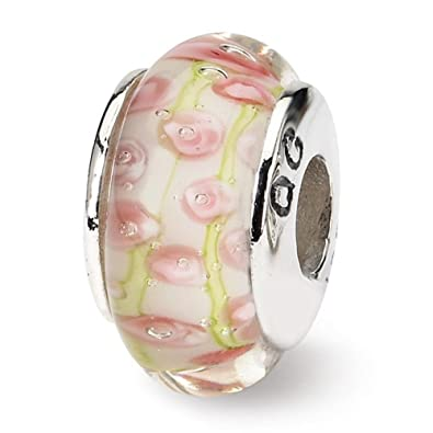 Sterling Silver Reflections Green//Pink Hand-blown Bead