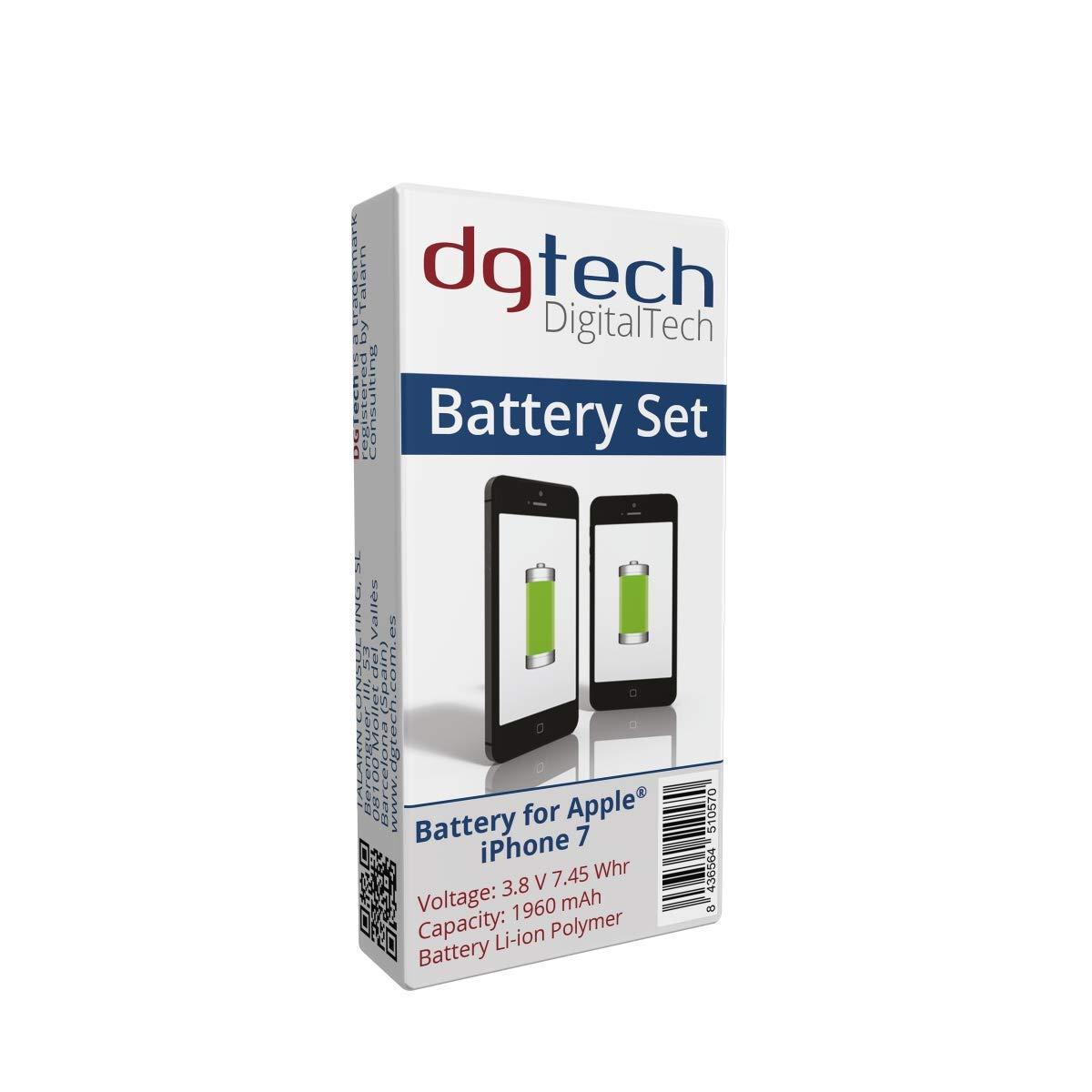 DigitalTech® - Batería Compatible con iPhone 7 de Alta Capacidad con Herramientas. 3,8v 1960 mAh. Kit de bateria Interna para iPhone 7 Compatible con ...