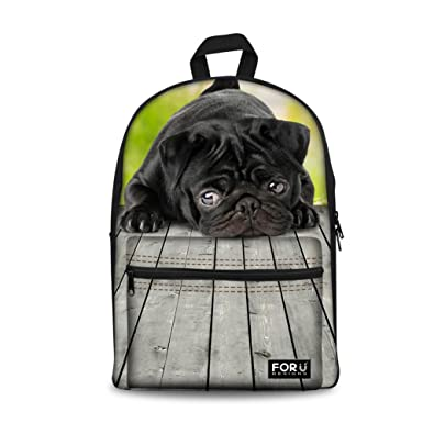 Amazoncom Coloranimal Cute Black Sher Pei Dog Kids Backpack For