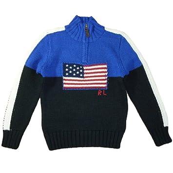 Ralph Lauren Polo Pull tricoté pour enfant Drapeau Américain Bleu Garçon 116 2760fabe1c6