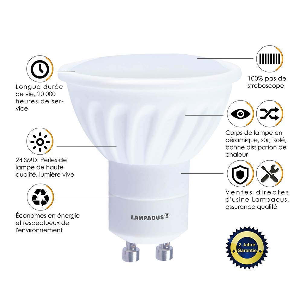 Lampaous/® LED GU10 Lot de 10 ampoules,GU10 LED culot,6000k blanc froid 450lm,5w led remplace parfaitement les ampoules halog/ènes ordinaires de 50w.