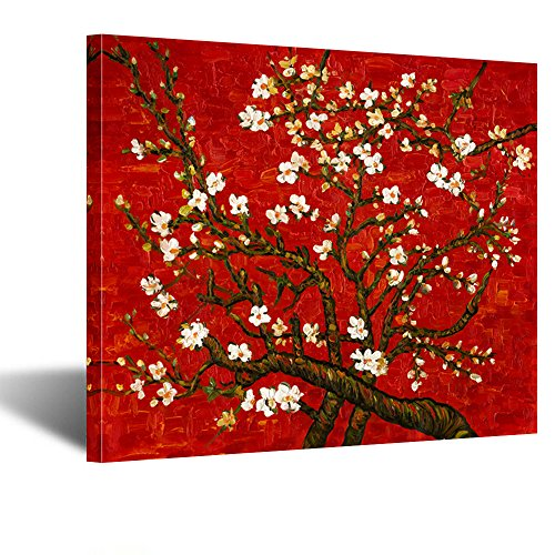 Creative Art- Canvas Prints Giclee Artwork for Wall Decor Classic Van Gogh Artwork Oil Paintings Reproduction Almond Blossom Canvas Picture Photo Prints on Canvas Art for Wall (Red)