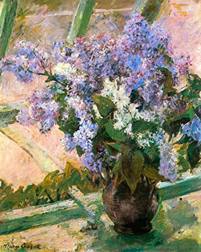 - The Museum Outlet - Flowers in the window by Cassatt, Stretched Canvas Gallery Wrapped. 11.7x16.5