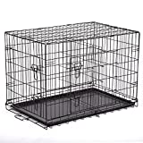 instecho BestPet 24″ Pet Folding Dog Cat Crate Cage Kennel w/ABS Tray LC