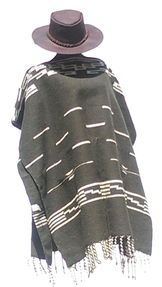 Clint Eastwood Spaghetti Western Original Pattern 100% Wool Poncho w Leather Hat
