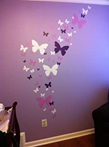 Butterfly Wall Decals- Girls Wall Stickers ~ Decorative Peel & Stick Wall Art Sticker Decals (Lilic,Lavender,White)