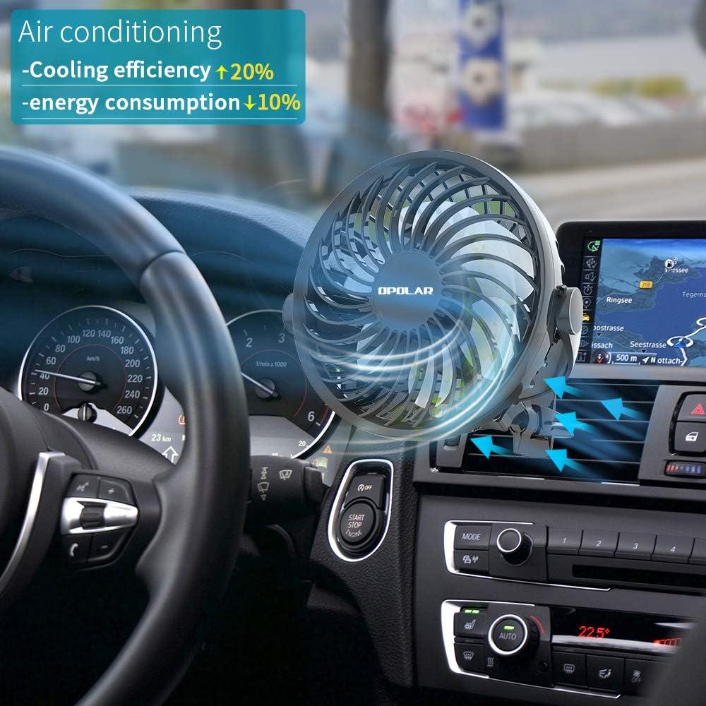cuatro velocidades rotaci/ón de 360 grados Ventilador USB para coche mini ventilador de veh/ículo para el asiento delantero y trasero del coche ideal para animales de beb/é de conductor y copiloto